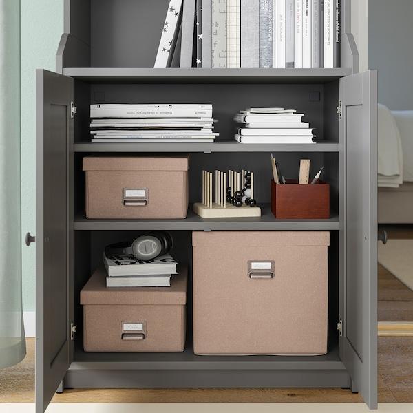 TJOG Storage box with lid, dark beige, 32x31x30 cm