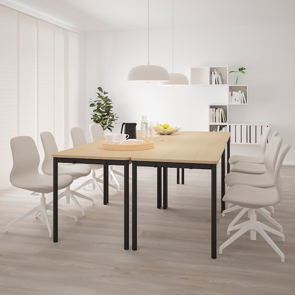TOMMARYD Table, white stained oak veneer/anthracite, 130x70 cm