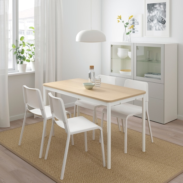 TOMMARYD طاولة, قشرة سنديان مصبوغ أبيض/أبيض, 130x70 سم