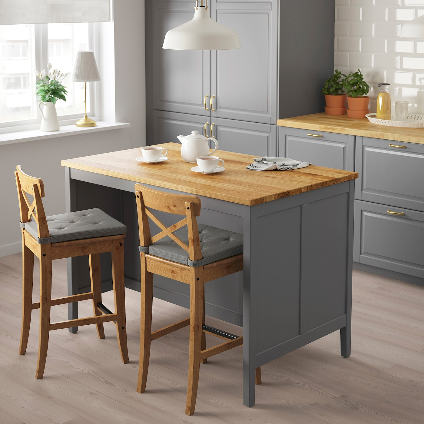 TORNVIKEN Kitchen island - grey/oak 8x8 cm
