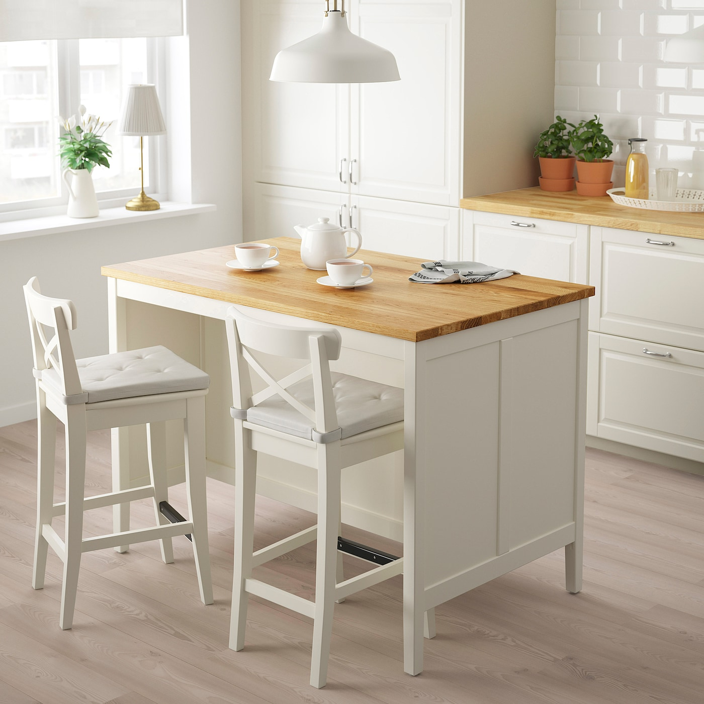 TORNVIKEN Kitchen island - off-white/oak 8x8 cm