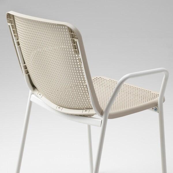 TORPARÖ كرسي ذو مسند ذراعين، داخلي/خارجي, أبيض/بيج