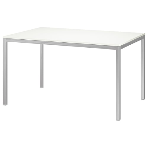 TORSBY table chrome-plated/high-gloss white 135 cm 85 cm 75 cm