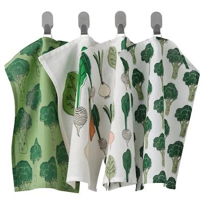 TORVFLY Tea towel, patterned/green, 30x40 cm
