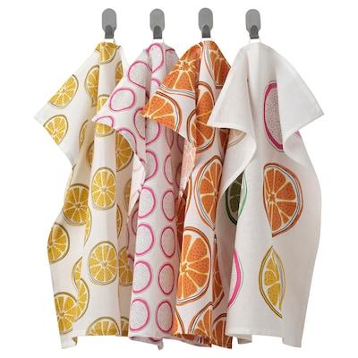 TORVFLY Tea towel, patterned/orange, 45x60 cm
