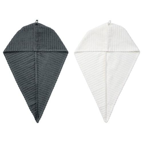 TRÄTTEN hair towel wrap dark grey/white 720 mm 265 mm 2 pack