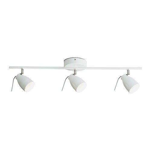 TRÅL Ceiling track, 3-spots IKEA Adjustable spotlights.