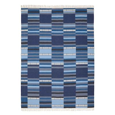 TRANGET Rug, flatwoven, handmade assorted blue shades, 170x240 cm