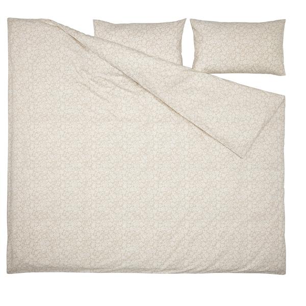 TRINDSTARR غطاء لحاف و ٢ غطاء مخدة, بيج/أبيض, 240x220/50x80 سم