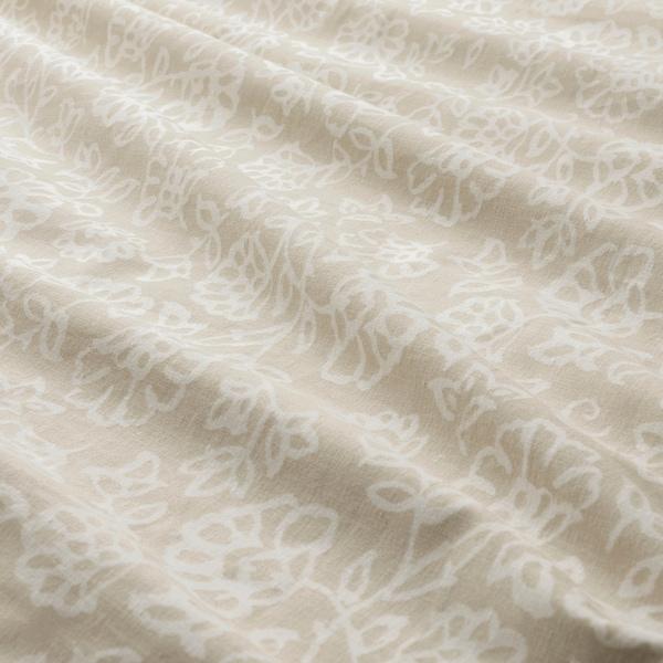 TRINDSTARR غطاء لحاف و غطاء مخدة, بيج/أبيض, 150x200/50x80 سم