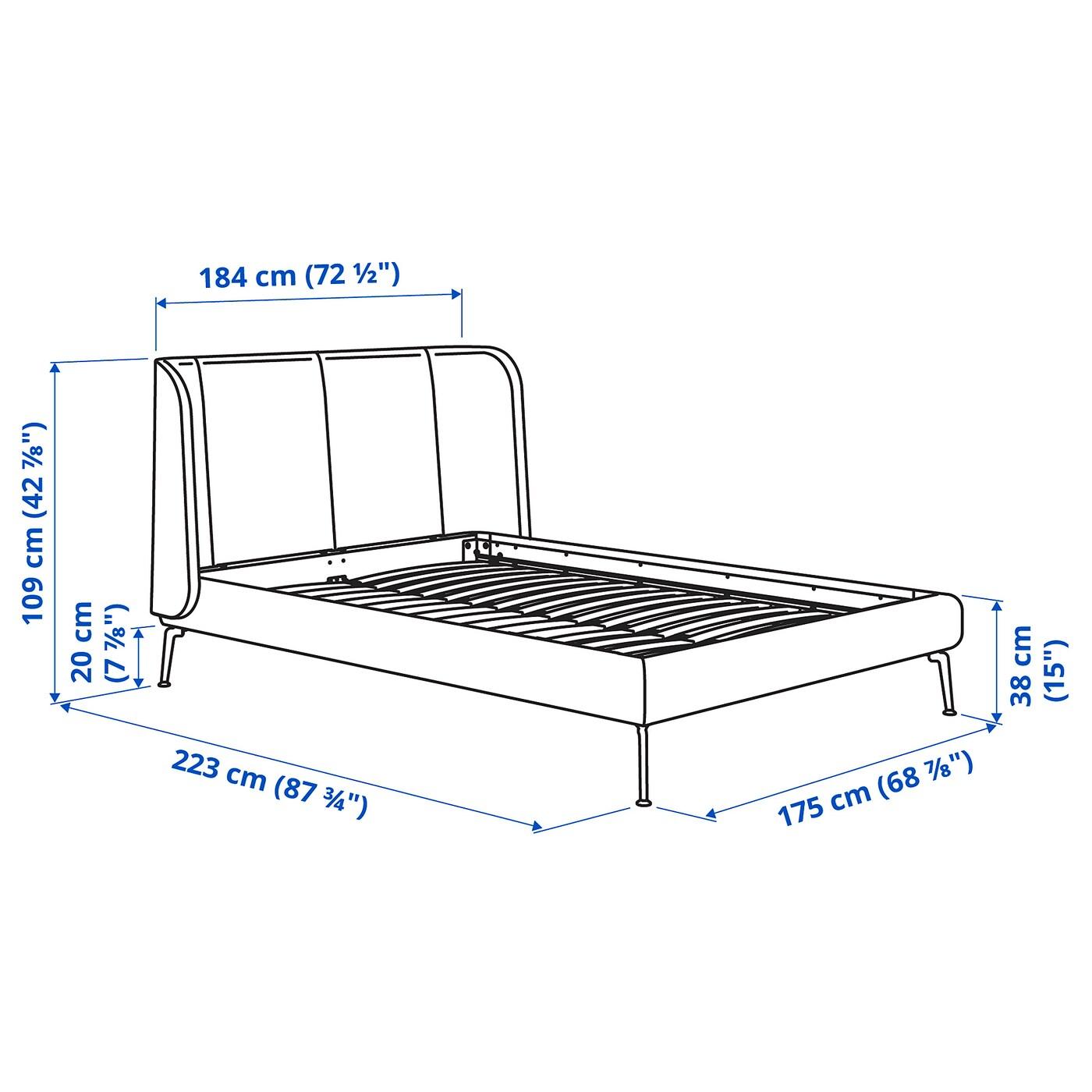 TUFJORD Upholstered bed frame - Gunnared blue 160x200 cm
