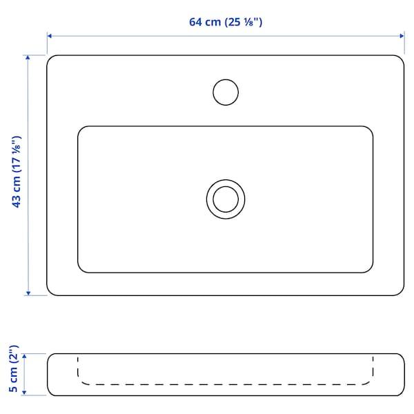 TVÄLLEN Single wash-basin, 64x43x5 cm