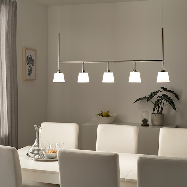 TYBBLE LED pendant lamp with 5 lamps, nickel-plated/opal white glass