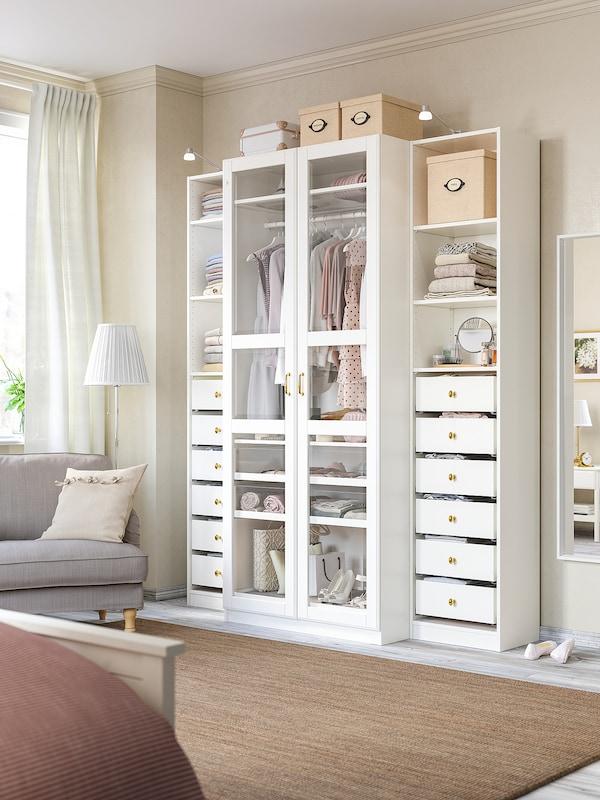 TYSSEDAL باب, أبيض/زجاج, 50x229 سم