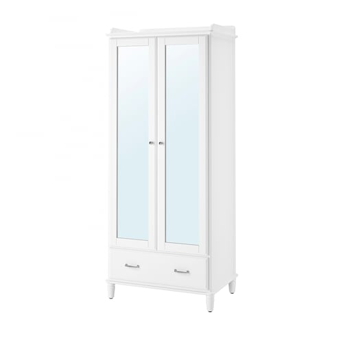 TYSSEDAL wardrobe white/mirror glass 88 cm 58 cm 208 cm