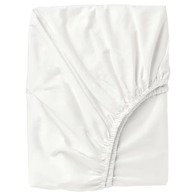 ULLVIDE Fitted sheet, white, 140x200 cm