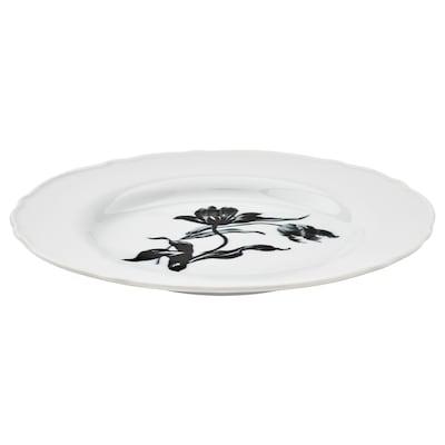 UPPLAGA Side plate, white/patterned, 22 cm