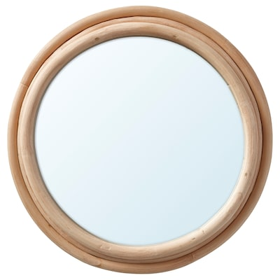 UPPNORA Mirror, rattan, 23 cm