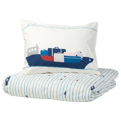 UPPTÅG Quilt cover and pillowcase, waves/boats pattern/blue, 150x200/50x80 cm
