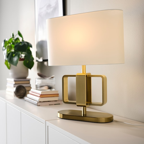 UPPVIND مصباح طاولة, طلاء بنحاس أصفر/أبيض, 47 سم