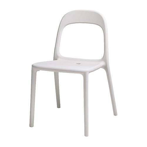 URBAN Chair IKEA Stackable; saves space when not in use.  Hole in the seat drains rain water off; can be used outdoors as well.