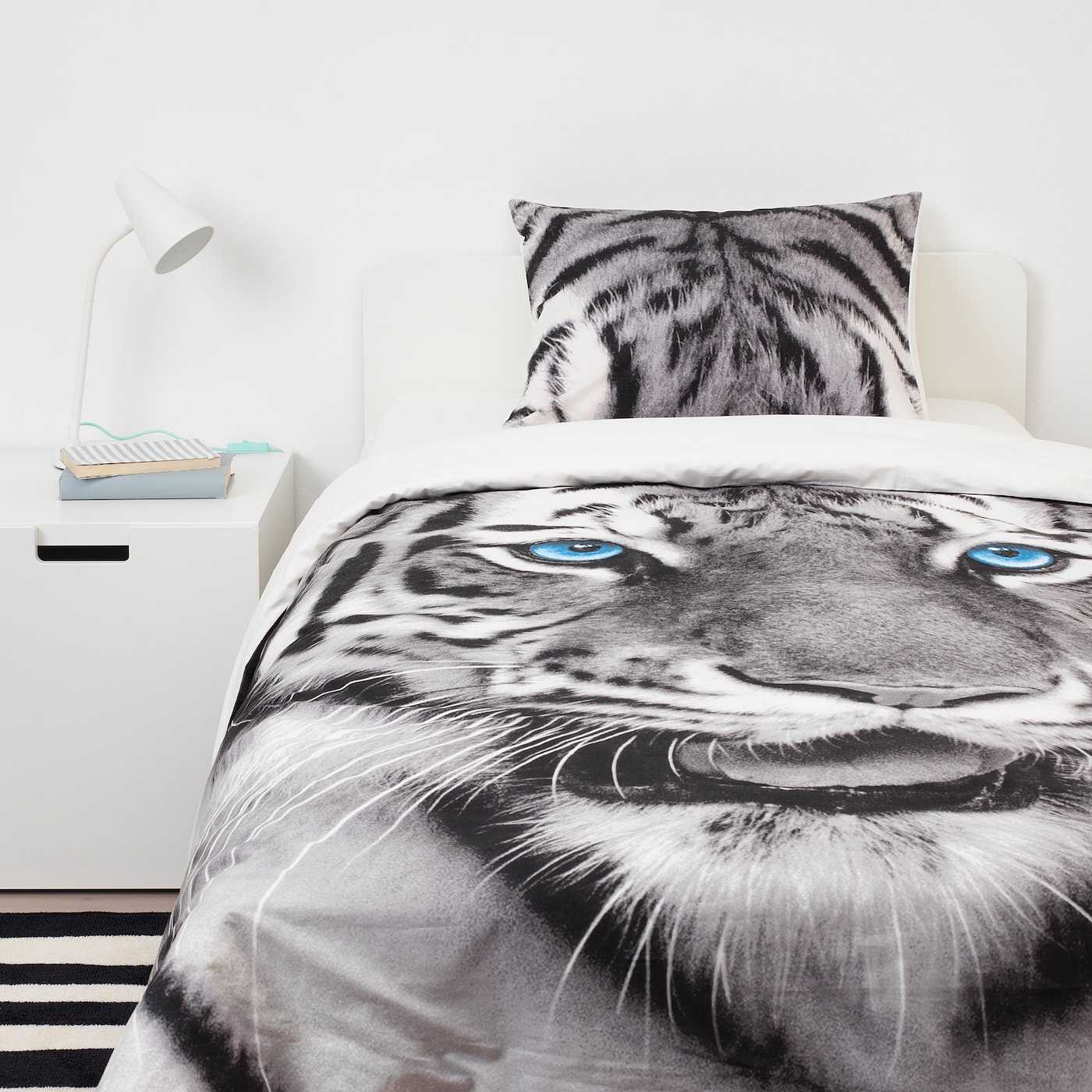 URSKOG Quilt cover and pillowcase, tiger/grey, 150x200/50x80 cm
