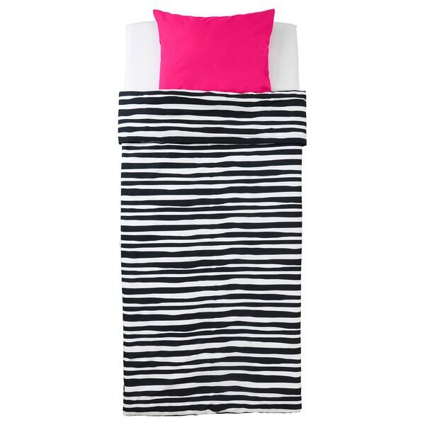 URSKOG Quilt cover and pillowcase, zebra/striped, 150x200/50x80 cm