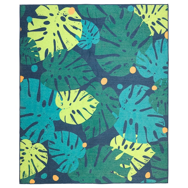 URSKOG Rug, flatwoven, leaves/green, 133x160 cm