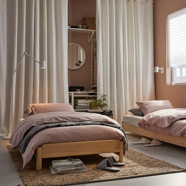 UTÅKER سرير قابل للتكديس مع مرتبتين, صنوبر/Husvika متين., 80x200 سم