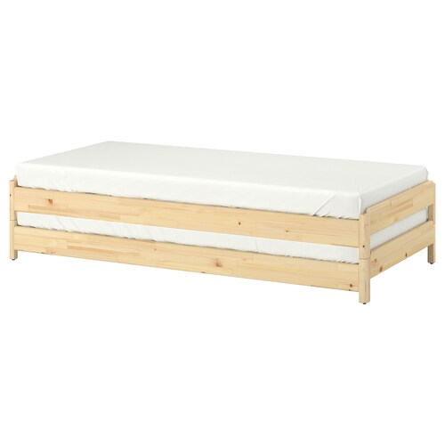 UTÅKER stackable bed with 2 mattresses pine/Malfors medium firm 46 cm 205 cm 83 cm 23 cm 2 pack 200 cm 80 cm