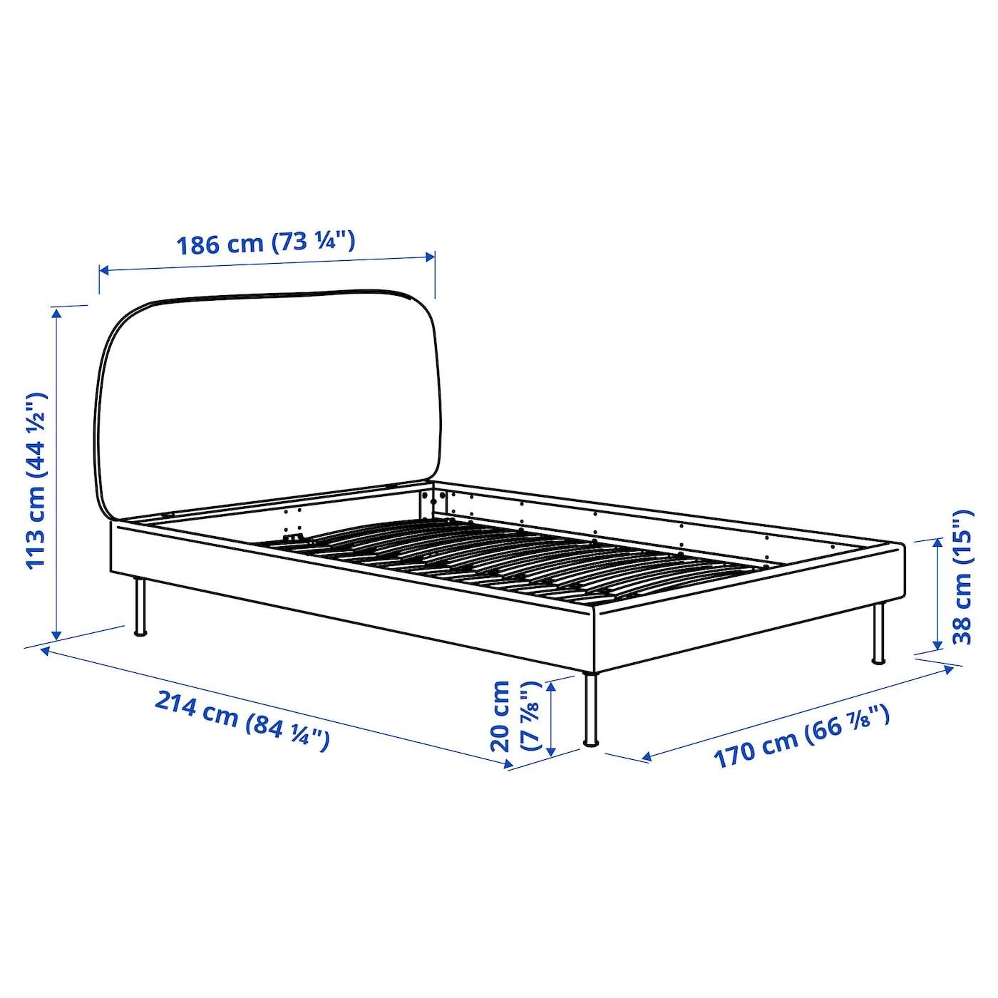 VADHEIM Upholstered bed frame - Gunnared light green 160x200 cm