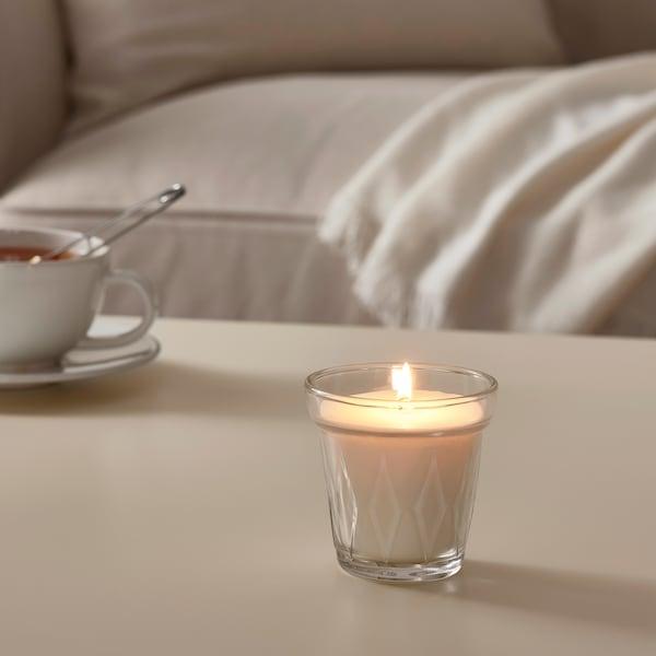 VÄLDOFT شمعة معطرة في كأس, زهرة/زجاج شفاف, 8 سم