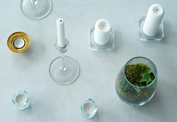 VÄSNAS Tealight holder, clear glass, 6 cm