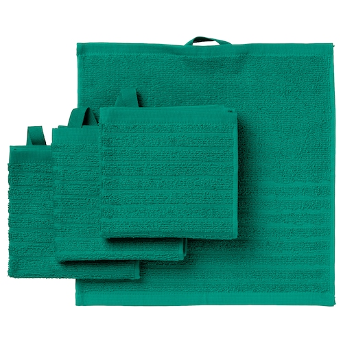 VÅGSJÖN washcloth dark green 30 cm 30 cm 0.09 m² 400 g/m² 4 pack
