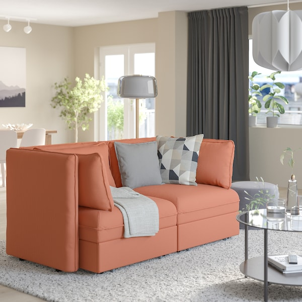 VALLENTUNA 2-seat modular sofa w 2 sofa-beds, Kelinge rust