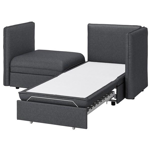 VALLENTUNA وحدة كنب بمقعدين مع كنبة سرير, وتخزين/Hillared رمادي غامق