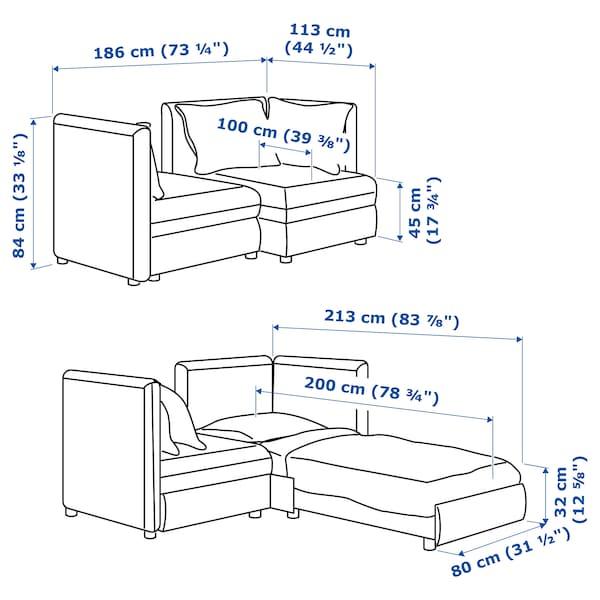 VALLENTUNA وحدة كنب بمقعدين مع كنبة سرير, وتخزين/Kelinge لون الصدأ