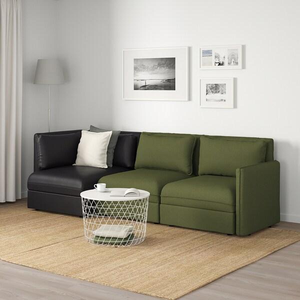 VALLENTUNA 3-seat modular sofa, with storage/Orrsta/Murum olive-green/black