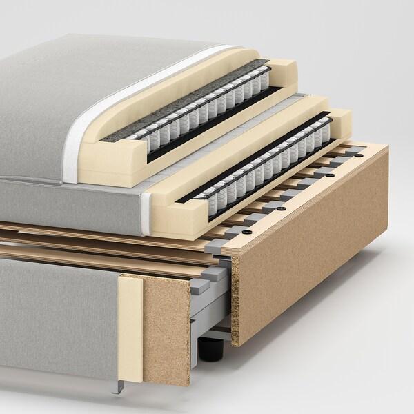 VALLENTUNA وحدة كنبة زاوية 3 مقاعد+كنبة سرير, وتخزين/Hillared رمادي غامق