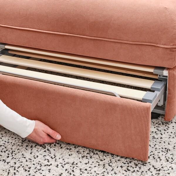 VALLENTUNA وحدة كنبة زاوية 3 مقاعد+كنبة سرير, وتخزين/Kelinge لون الصدأ