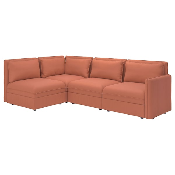 VALLENTUNA Modular corner sofa, 3-seat, with storage/Kelinge rust