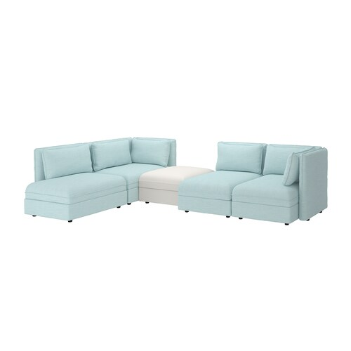 VALLENTUNA modular corner sofa, 4 seat with storage/Hillared/Murum light blue/white 84 cm 93 cm 113 cm 346 cm 213 cm 80 cm 100 cm 45 cm