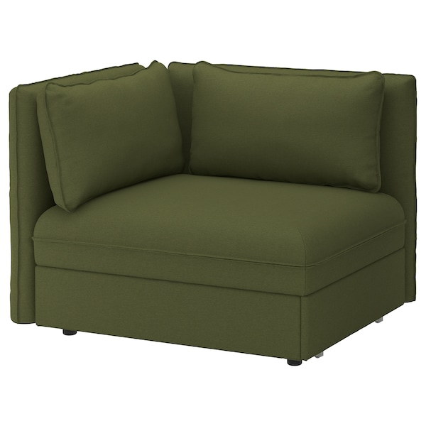 VALLENTUNA Sofa-bed module with backrests, Orrsta olive-green