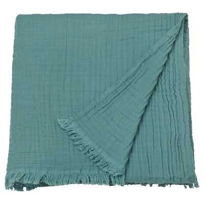 VALLKRASSING غطاء, رمادي- تركواز, 150x200 سم