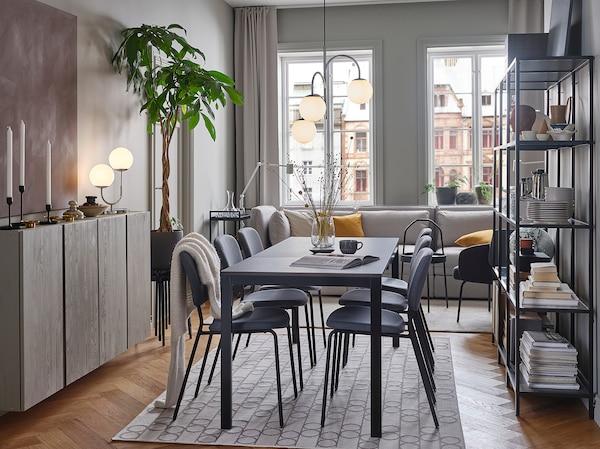 VANGSTA طاولة قابلة للتمديد, أسود/بني غامق, 120/180x75 سم
