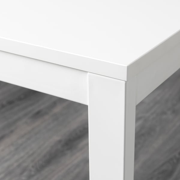 VANGSTA طاولة قابلة للتمديد, أبيض, 120/180x75 سم