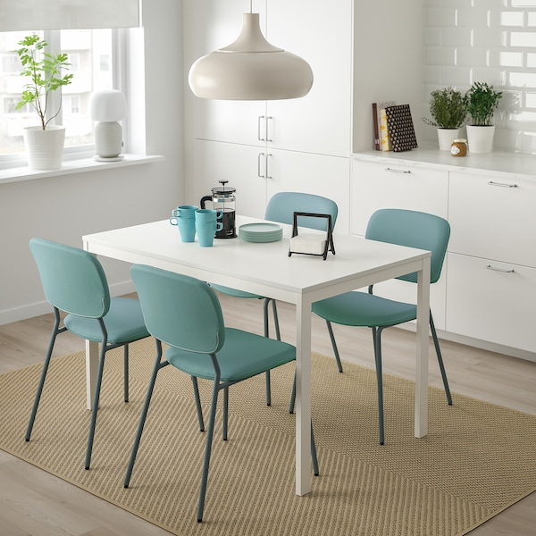 VANGSTA / KARLJAN طاولة و4 كراسي, أبيض/تركواز, 120/180 سم