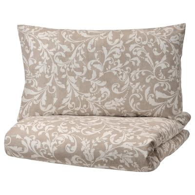 VÅRBRÄCKA Quilt cover and 2 pillowcases, beige/white, 240x220/50x80 cm