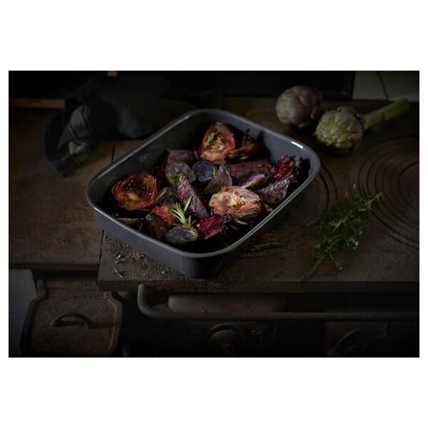 VARDAGEN Oven dish, rectangular/dark grey, 29x23 cm