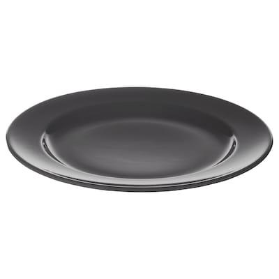 VARDAGEN Plate, dark grey, 26 cm